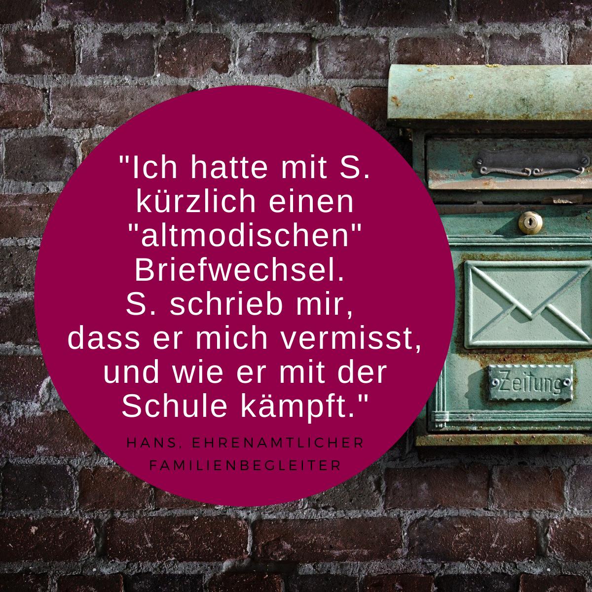 Zitat Ehrenamt und Bild Briefkasten