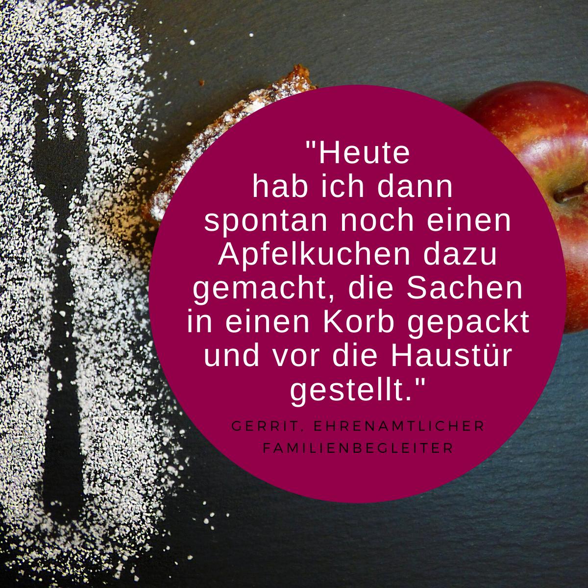 Zitat Ehrenamt und Bild Apfelkuchen